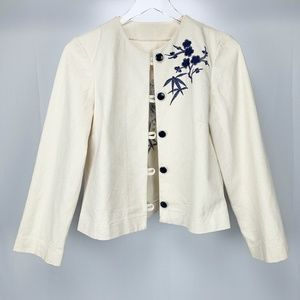 EMBROIDERED Womens Canvas Button Down Jacket S